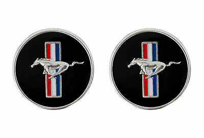 "Genuine Ford Mustang 1"" Tribar Chrome Running Horse Pony Emblems Pair"