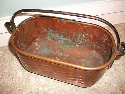 Vintage Hammered Copper Pot- Wrought Iron Handle Nice Heavy Piece
