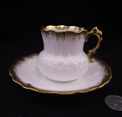 Hammersley Fine Bone China Thistle  Demitasse Tea Cup And Saucer White And Gold