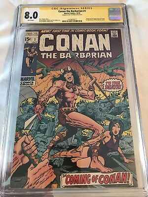 Conan the Barbarian #1 1970 CGC 8.0 SS White pages signed by Creator Roy Thomas!
