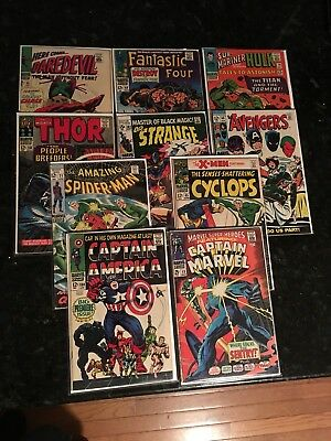 10 MARVEL COMICS- Marvel Super-Heroes #13, Captain America #100, X-Men #45, Etc.