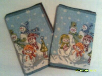 "2 Snowmen Christmas Table Runners 68 x 13"" very good condition"