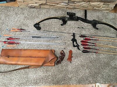 Vintage bow and 6 Bod kin And Aluminum 12, With The Leather Quiver Case. GUC.