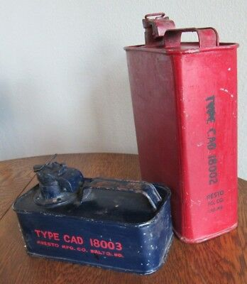 Vintage Aresto Mfg.Co.Safety Fuel Cans Type Cad 18003 & 18002 Military