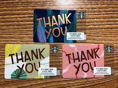 3 New Starbucks 2018 Us Thank You Plastic Variant Gift Cards Limited