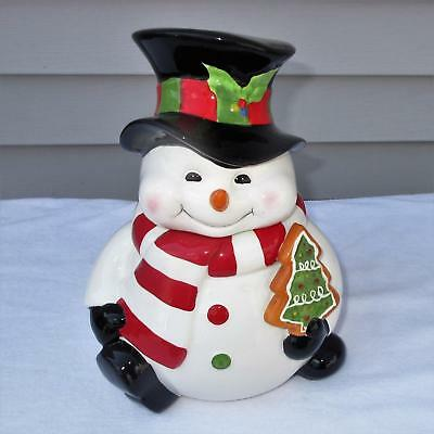 SNOWMAN Cookie Jar Ceramic Christmas Decor Canister Holiday