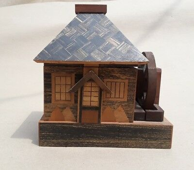 Vintage Japan Inlaid Wood Marquetry  Puzzle Box House Bank Wooden