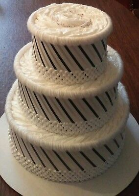 Zebra Themed Baby Shower  3 Tier Black and White Diaper Cake Centerpiece Gift