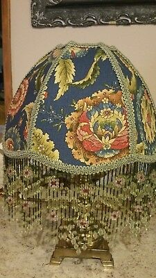 "Victorian French Medium Lamp Shade Uno ""Jacobean Rose"" 6"" Bead Fringe  Look!"