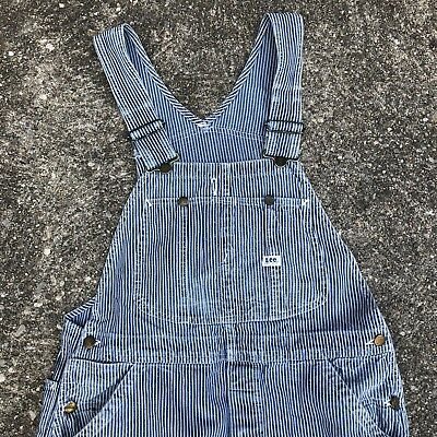 VTG Lee Jeans Hickory Stripe Conductor Overalls 50s Union Made Distressed