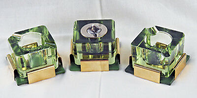 Vintage MCM Lighter and Ashtrays - Green Glass, Brass and Leather Fantastic Set!