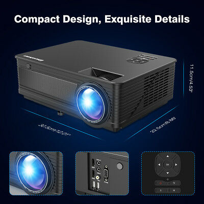 """Excelvan+30% Lumens M5 LED Projector Multimedia Home Theater 120"""" Display 1080P"""