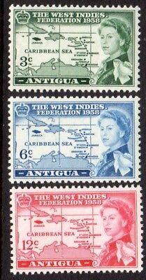 1958 ANTIGUA BRITISH CARIBBEAN FEDERATION SG135-137 mint unhinged