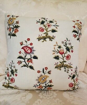 Chelsea Textiles New York Floral Embroidered Throw Pillow C238 RN#85421 Pretty