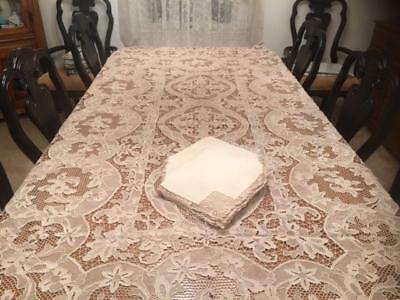 "Large Antique Vintage Handmade Ecru Needle Lace Tablecloth 12 Napkins 108"" x 72"""