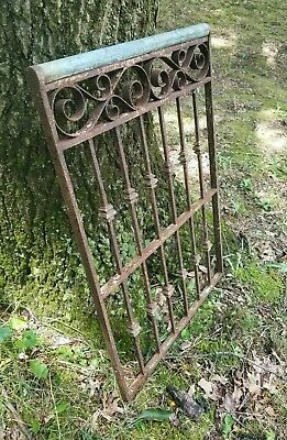 Antique Victorian Iron Gate Window Garden Fence Architectural Salvage Old 19x28""