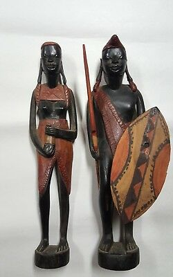 Pair Antique African Wood Carved Male Female Folk Art Tribal Figures