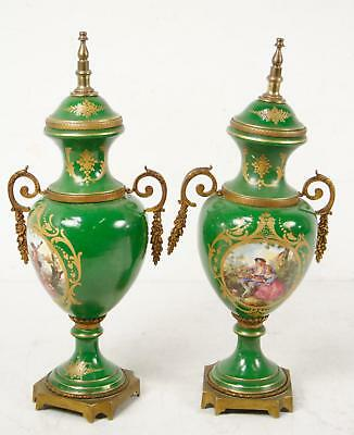2 Vintage French Urn Statues Green