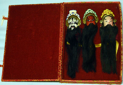 Vintage Set Of 3 Miniature Chinese Opera Masks In Original Box. Free Shipping.