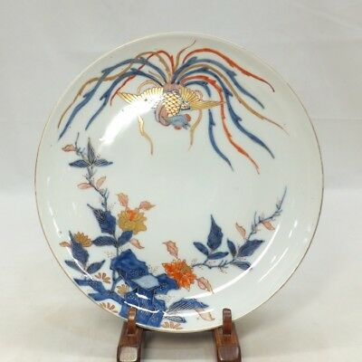 E961 Real Japanese OLD IMARI popular SOME-NISHIKI porcelain plate with phoenix 2