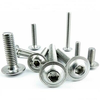M3 Flanged Button Head Screws, Dome Head Allen Socket Bolts A2 Stainless Steel