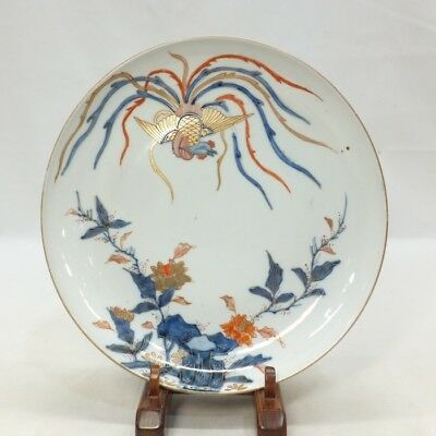 E963 Real Japanese OLD IMARI popular SOME-NISHIKI porcelain plate with phoenix 4