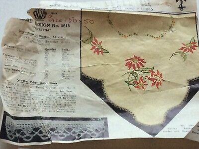 VINTAGED TRACED LINEN TABLECLOTH TO EMBROIDER - POINSETTIA, 50 x 50 inches