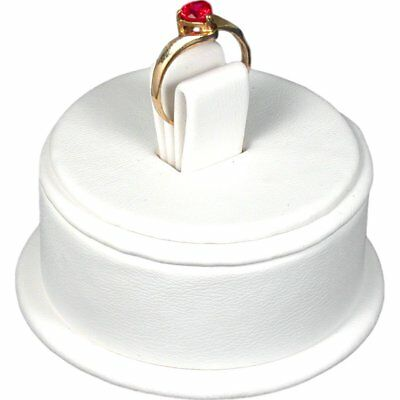 """White Faux Leather Ring Jewelry Showcase Display Stand 2 1/2"""" x 1 5/8"""""""