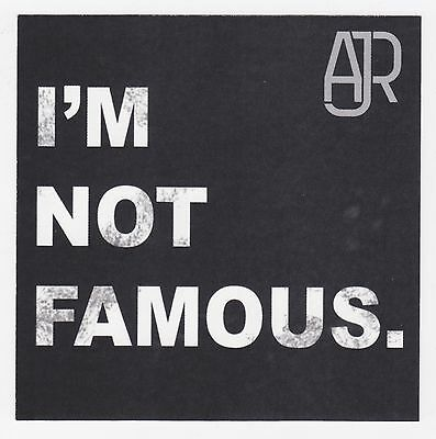 AJR STICKER 2016 Official Promo I'M NOT FAMOUS Met Brothers Mint NEW RARE Cheap!