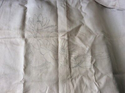VINTAGE LINEN TABLE CLOTH TO EMBROIDER - WATERLILY DESIGN, 50 X 51inches