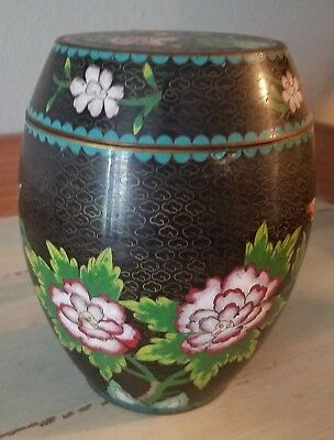 Antique Old Cloisonne Tea Caddy Ginger Jar Black Background with Chrysanthemums