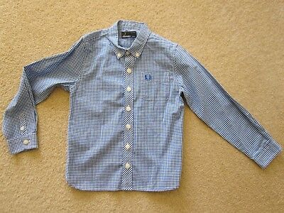 Fred Perry Boys Checked Long Sleeve Shirt- Very Cute - Size 4-5 - As New