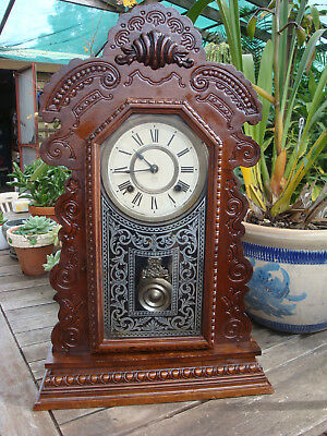 Antique Labelled Ansonia KENSICO  Gingerbread Clock RunsStrikes well  great cond