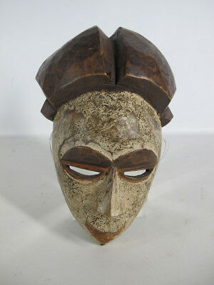 Vintage African Punu Tribe Hand Carved & Painted Wood Face Mask Gabon #15 yqz