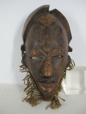 Vintage African Punu Tribe Hand Carved Wood & Copper Face Mask Gabon #13 yqz