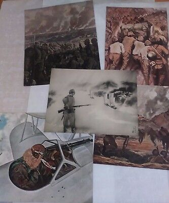 5 PRINTS & Imperial War Art by Japanese Army Art Assoc inscription Iwane Matsui