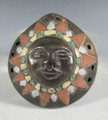 Vintage South American Chilean Hand Painted Pottery Ocarina Sun Face Flute yqz