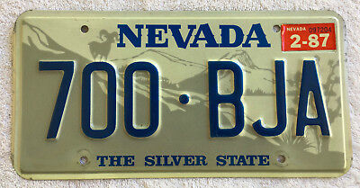 """1987 Nevada License Plate with the """"Off-set"""" Ram, Excellent and Rare"""