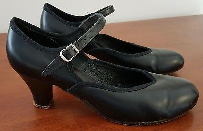 Vintage 60s ENCORE All Leather BLACK Rehearsal DANCERS MARY JANES SHOES size 7.5