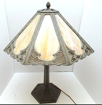 """Antique Art Nouveau Slag Stained Glass table Lamp 8 Panel 24"""" tall marbled VTG"""