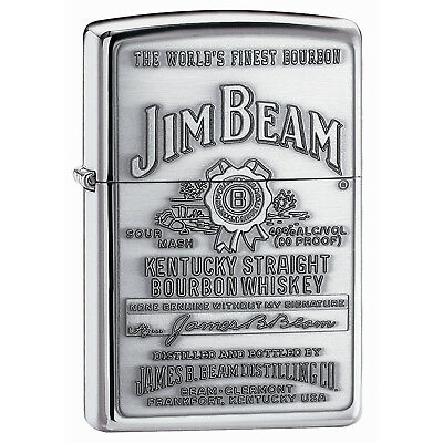 250JB928 Zippo Jim Beam Pewter Emblem High Polished Chrome