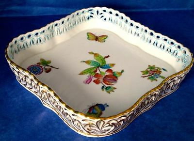 Herend QUEEN VICTORIA Gorgeous Tray, Hand Painted & Reticulated