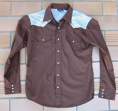 Genuine Vintage Mens Western Rockabilly Pearlized Snap Long Sleeve Shirt ~ L