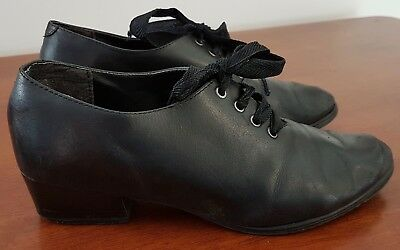 Vintage 60s Rubber Sole BLACK Leather Rehearsal Stage Lace Up SHOES size 7.5