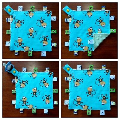 Monkey Mini Size TaGgie Taggy Tag Blanket Toy comforter Dummy clip Holder