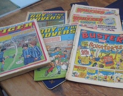 Bundle of Vintage comics mainly 70s Tiger & Scorcher, Buster, Roy of the Rovers