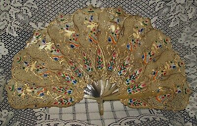 ANTIQUE JAVANESE/INDONESIAN HAND PAINTED WAYANG PUPPET FAN mid-late 1800s