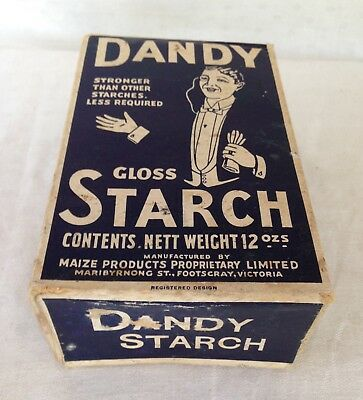 "ANTIQUE - ADVERTISING CARDBOARD BOX ""DANDY"" STARCH (empty) C.1920/30's."