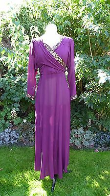 Vintage Original 1940s Deep Magenta Fine Silk Chiffon Evening Gown Dress 8 - 10