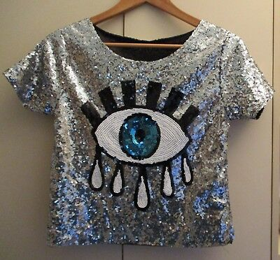 Vintage Eye Motif Sequin Top Size Small Excellent Condition